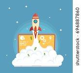 web business start up launch in ... | Shutterstock .eps vector #696887860