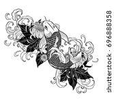 koi fish and chrysanthemum...   Shutterstock .eps vector #696888358