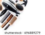 combs and hairdresser tools in... | Shutterstock . vector #696889279