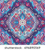 beautiful indian floral paisley ...   Shutterstock .eps vector #696890569