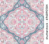 beautiful indian floral paisley ...   Shutterstock .eps vector #696890584