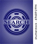 search emblem with denim texture | Shutterstock .eps vector #696891994