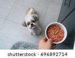 Shih Tzu Dog Getting Food From...