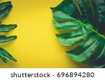 tropical leaves laying on... | Shutterstock . vector #696894280