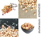 set of heap of inshell...   Shutterstock . vector #696896530
