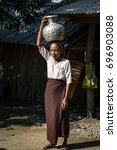 mrauk u  myanmar   dec 29  2016 ... | Shutterstock . vector #696903088