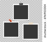 photo frame with pin  clip and... | Shutterstock .eps vector #696903304