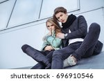 fashion young couple in rock... | Shutterstock . vector #696910546