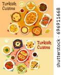 turkish cuisine dinner icon set.... | Shutterstock .eps vector #696911668
