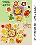 italian cuisine pasta dishes... | Shutterstock .eps vector #696912334