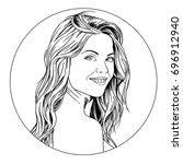 portrait of girl in style pop...   Shutterstock . vector #696912940