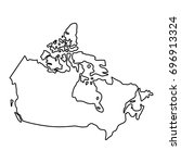 canada map of black contour... | Shutterstock .eps vector #696913324