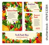 fruit and fresh berry farm... | Shutterstock .eps vector #696913384