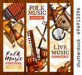 folk music banner set with... | Shutterstock .eps vector #696913396