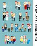 family activity cartoon set.... | Shutterstock .eps vector #696913636