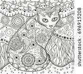 mandala with cats. zentangle....   Shutterstock .eps vector #696915208
