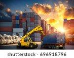 forklift handling container box ... | Shutterstock . vector #696918796