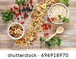 healthy homemade oatmeal with... | Shutterstock . vector #696918970