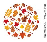 circle of autumn leave vector... | Shutterstock .eps vector #696921190