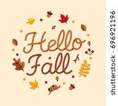 hello fall typography autumn... | Shutterstock .eps vector #696921196