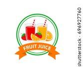 fresh fruit juice logo design...   Shutterstock .eps vector #696927760