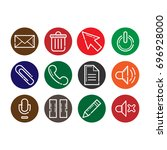 button icon set | Shutterstock .eps vector #696928000