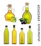 vector set of realistic glass... | Shutterstock .eps vector #696929539