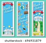 three vertical back to school...   Shutterstock .eps vector #696931879