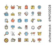 ecommerce icon color thin line... | Shutterstock . vector #696933028