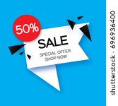 modern paper cut geometric sale ... | Shutterstock .eps vector #696936400