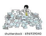 very tired and exhausted... | Shutterstock .eps vector #696939040
