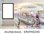 Small photo of beauty full blank advertising billboard at airport background large LCD advertisement