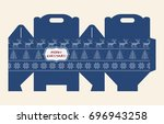 gift box pattern. template. box ... | Shutterstock .eps vector #696943258