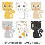 cats character six set  ... | Shutterstock .eps vector #696944080