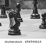Street chess pieces in the center of Bratislava, Slovakia - stock photo