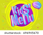 kids  menu sign in cartoon... | Shutterstock .eps vector #696945670