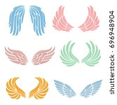 elegant angel wings with long... | Shutterstock .eps vector #696948904