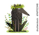 black friendly cute wolf. funny ... | Shutterstock .eps vector #696952348