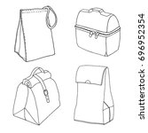 various types of lunch bags.... | Shutterstock .eps vector #696952354