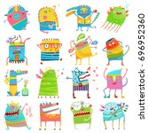 cartoon colorful monsters for... | Shutterstock .eps vector #696952360