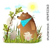mother bear with cubs in wild... | Shutterstock .eps vector #696952363