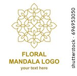 floral mandala linear icon.... | Shutterstock .eps vector #696953050