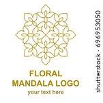 floral mandala linear icon.... | Shutterstock .eps vector #696953050