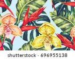 tropical summer floral seamless ... | Shutterstock . vector #696955138