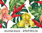 summer floral seamless tropical ... | Shutterstock . vector #696958126