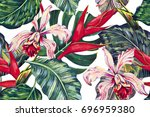 floral seamless tropical... | Shutterstock . vector #696959380