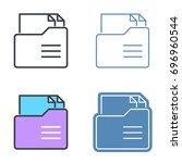 folder with paper documents... | Shutterstock .eps vector #696960544