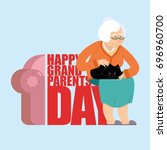 grandparents day. day of... | Shutterstock .eps vector #696960700