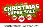 it's time for christmas super... | Shutterstock .eps vector #696964294