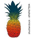 pineapple color vector... | Shutterstock .eps vector #696967504